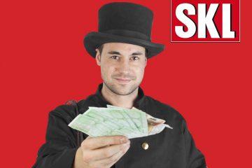 Schornsteinfeger mit Geld