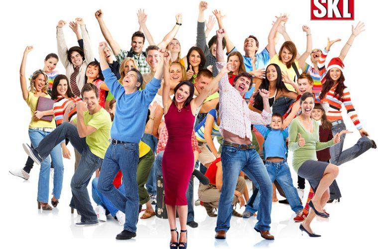 Gruppe glücklicher Menschen