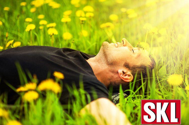 Mann liegt in Löwenzahnwiese