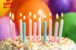 Geburtstagstorte vor bunten Luftballons