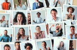 glückliche Menschen Polaroidfotos