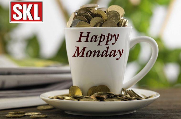 Happy Monday Kaffeetasse mit Geldmünzen