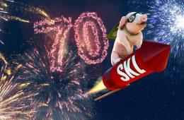 Glücksschwein auf Rakete