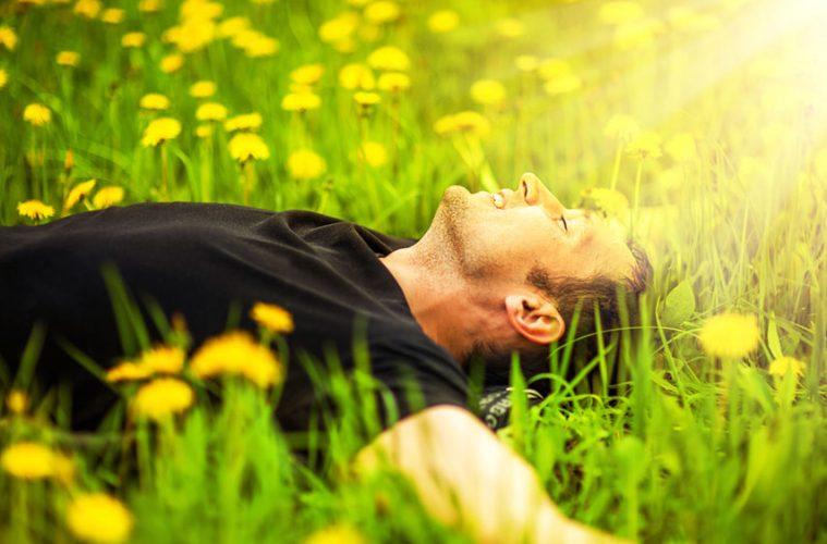 Junger Mann entspannt auf Blumenwiese