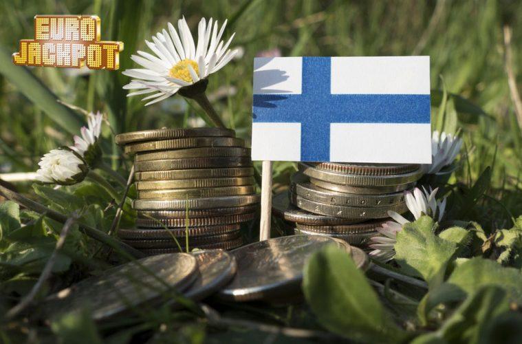 Finnische Flagge auf Geldmünzen