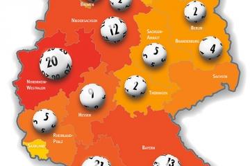 Deutschlandkarte mit Lotto-Millionären 2017
