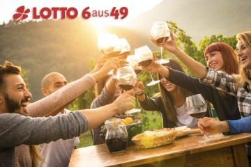 Gruppe von jungen Leuten trinkt Wein und genießt Sonnenuntergang auf einem Weinberg