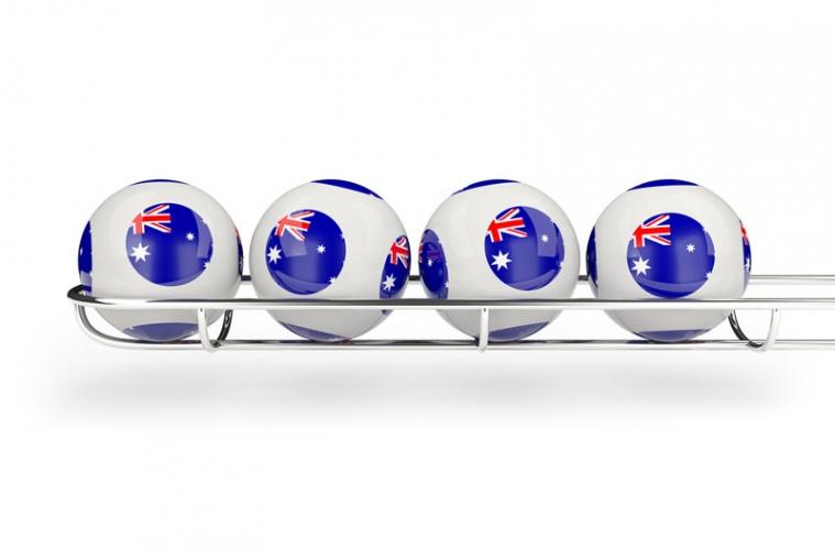 Lottokugeln australische Lotterie