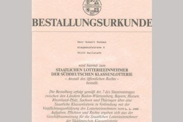 Urkunde Staatliche Lotterie SKL