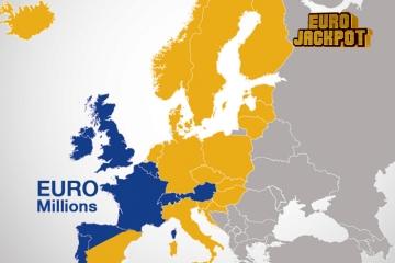 Europakarte EuroJackpot und EuroMillions