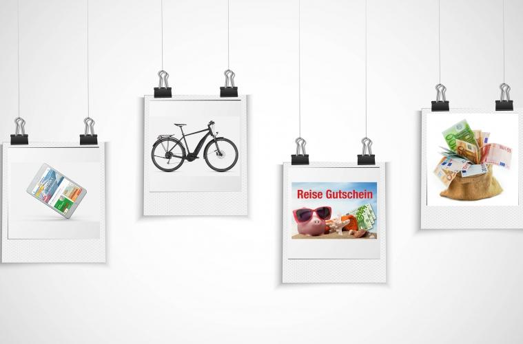 Polaroid Bilder hängen an Heftklammern