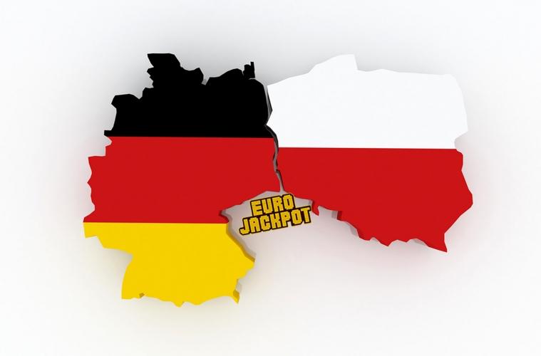Fläche Deutschland und Polen in den Farben der Flagge