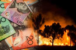 Buschbrände im australischen Outback. Farblich australische Dollar-Hintergrund.
