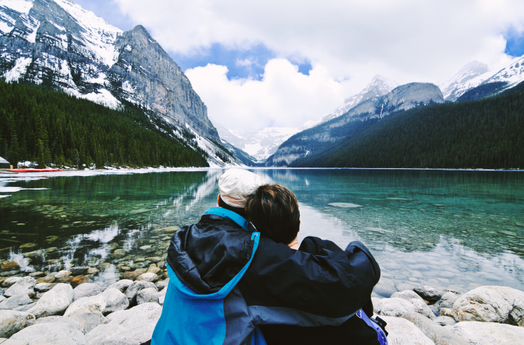 Romantic couple - Lake Louise, Banff National Park, Alberta , Canada