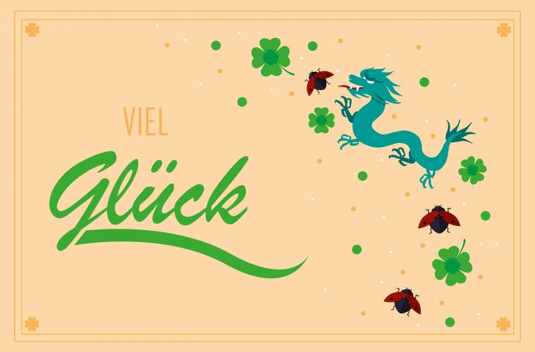 Viel Glück mit Glücks-Symbolen wie einem Drachen, Klee und Marienkäfer. Glück.