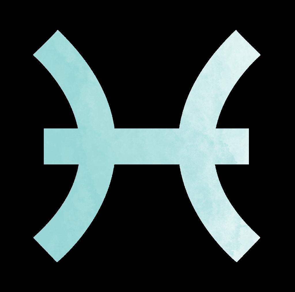 Sternzeichen Symbol Fische in blau Horoskop