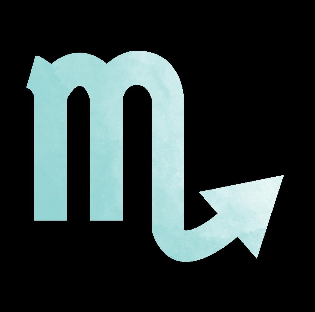 Sternzeichen Symbol Skorpion in blau Horoskop